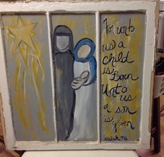 Vintage Christmas Nativity Hand Painted Window by TheJunkyCowgirl