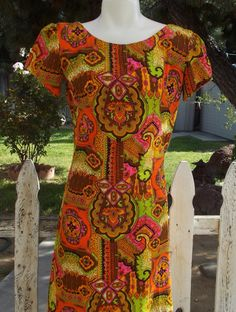 d365b1bac053 Vintage Handmade 60's 70's Hawaiian Tiki Dress Orange Pink Paisley  Psychedelic Flowers Aloha Maxi Dress