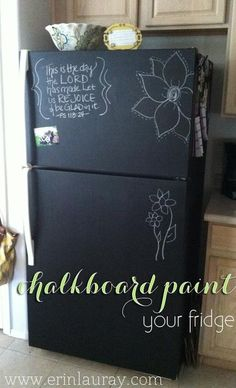Chalkboard paint covered refrigerator.  Neat idea.