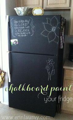 Chalkboard paint covered refrigerator.  Neat idea.