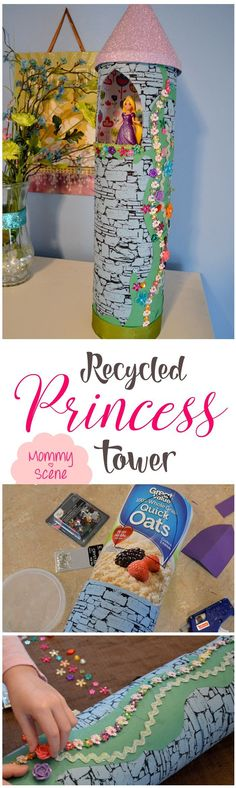 Perfect for a princess party! This beautiful little Rapunzel-inspired Princess Tower is easy to make with an old lemonade can and recycled oatmeal container!