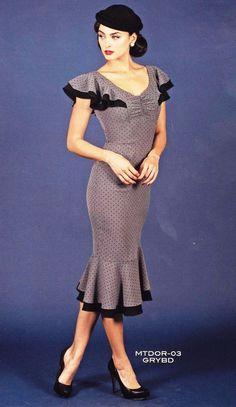 Stop Staring Bombshell Matador Drape Gray Black Pinup Mermaid Wiggle Dress M bca8952f0