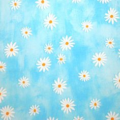 Daisies on a Blue Background is a beautiful pure cotton fabric with a fresh and sunny design of daisies with white petals and deep yellow centres scattered across a light blue background.  This fabric is perfect for not only for all your patchwork and quilting projects but also for dressmaking and all your other craft ideas.  Details: 100% cotton Width 140 cm £4.50 per half metre Material is supplied uncut