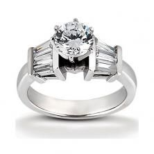 14k White Gold Diamond Accented Engagement Ring Containing 0.84 Carats Of Diamonds In Hi Color And Si1-si2 Clarity