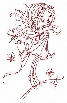 Young fairy 5 machine embroidery design. Machine embroidery design. www.embroideres.com