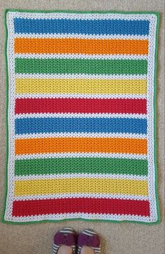 Looking for a quick and cute free pattern for a baby blanket? Try this colourful unisex v-stitch crochet blanket! Crochet Baby Blanket Beginner, Crochet Baby Blanket Free Pattern, Afghan Crochet Patterns, Baby Patterns, V Stitch Crochet, Crochet Stitches, Knit Crochet, Free Crochet, Crab Stitch