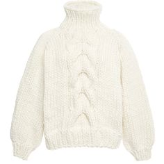 I Love Mr. Mittens White Wool Cropped High Neck Cable Knit Sweater ($365) ❤ liked on Polyvore featuring tops, sweaters, chunky turtleneck sweater, cable turtleneck sweater, crop top, white crop top and chunky sweater