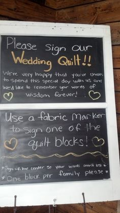 Instead of a guest book the couple had quilting squares for guests to sign. Then it would be made into a quilt !