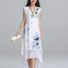 ==>DiscountSummer dress 2016 New Fashion sleeveless women dress casual cotton Linen dress Printed o neck plus size vestidos de festa-in Dresses from Women's Clothing