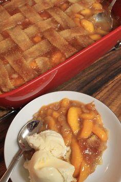 Old Fashioned Triple-Crust #Peach Cobbler recipe uses fresh or frozen peaches