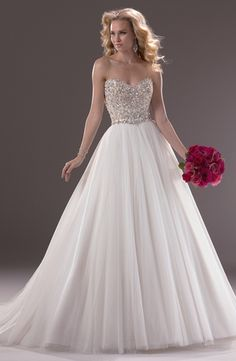 """Bridal Gowns: Maggie Sottero Princess/Ball Gown Wedding Dress with Sweetheart Neckline and Natural Waist Waistline """"Esme"""""""