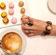 Stephen Dweck statement jewelry served with some sweet treats.