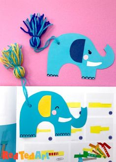 Red Ted Art's adorable Tassel Tail Elephant Bookmark Craft! Learn how to make a tassel using just your hands and turn it into this adorable Elephant's Tassel Tail Bookmark. So cute and easy!!