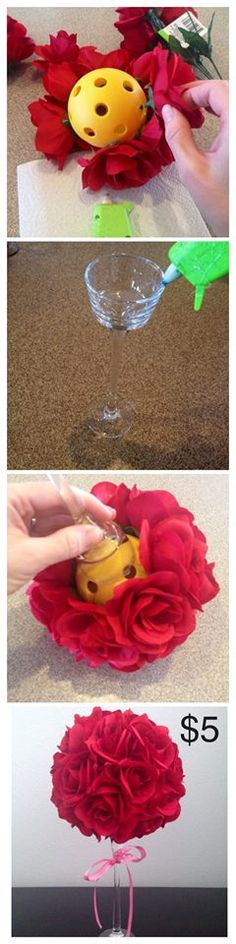 Glue a wiffle ball to a long stemmed glass or votive holder and glue flowers in the holes. Tie a ribbon around the stem and instant, inexpensive bouquet