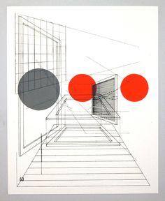 Perspective architecture 3, architectural graphic design, 16 x 20 inches silkscreen print. 30.00 Etsy.