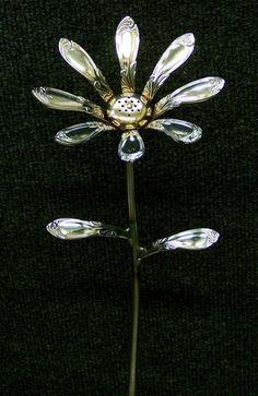 Items similar to Mini Handle Flower - Majestic on Etsy Fork Art, Spoon Art, Metal Yard Art, Scrap Metal Art, Metal Art Projects, Metal Crafts, Silverware Jewelry, Spoon Jewelry, Welding Art