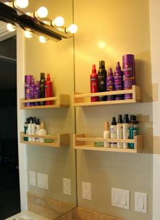 Ikea Spice Racks for organizing hair/nail products. Genius!