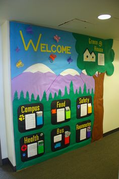 Welcome ra university college dorm hall bulletin board with useful information by Austin Grant