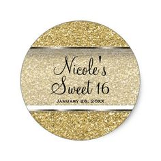 Gold Glitter & Silver Glam Wedding Party Favor Classic Round Sticker - elegant gifts gift ideas custom presents