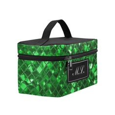 Monogram Emerald Green Sparkle Cosmetic Bag/Large (Model 1658)