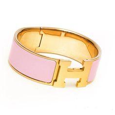 Hermes Click-Clack H Wide enamel rose bracelet