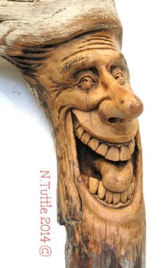 """Laughter Does Wonders""    14¼ inches tall and 7½ inches at his widest point.  Signed and dated:   N. Tuttle 11/1/14"