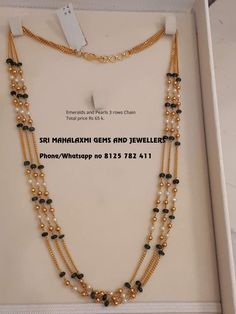 Choose jewelry Brand name Sri mahalaxmi jewelry Pearl Necklace Designs, Jewelry Design Earrings, Gold Earrings Designs, Gold Jewellery Design, Gold Necklace, Indian Gold Jewellery, Necklace Set, Gold Haram Designs, Indian Jewelry Sets
