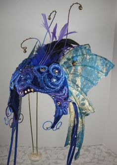 Sky Blue Fairy Velvet Headpiece with wings Masquerade, Mardi Gras, Carnival , Halloween by leopardsleap