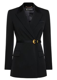 Barocco Buckle Wool Blazer from Versace Women's Collection. A blazer that glides seamlessly from day to evening, from the office to happy hour. This stretch wool, fitted waist blazer is embellished by a Barocco buckle belt - a Versace classic. Kpop Fashion Outfits, Stage Outfits, Blazer Fashion, Womens Fashion, Fashion Coat, Black Blazers, Blazers For Women, Coats For Women, Clothes For Women