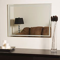@Overstock - Frameless Etch Mirror features carved, picture-frame inspired border  Decorative accessory created with a fine, precise manufacturing process  Durable looking glass constructed in 0.19-inch thick glass plus metalhttp://www.overstock.com/Home-Garden/Frameless-Etch-Mirror/3511451/product.html?CID=214117 $84.99
