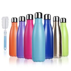 BOGI Insulated Water Bottle Double Wall Vacuum Stainless Steel Bottle Leak Proof keeps Hot and Cold Drinks for Outdoor Sports Camping Hiking Cycling, Comes with a Cleaning Brush Gift- Boutique Closet Luxury - Beste Frisuren Leben Best Reusable Water Bottle, Insulated Water Bottle, Stainless Steel Bottle, Brush Cleaner, Cold Drinks, Adulting, Pure Products, Yoga Products, Gift Ideas