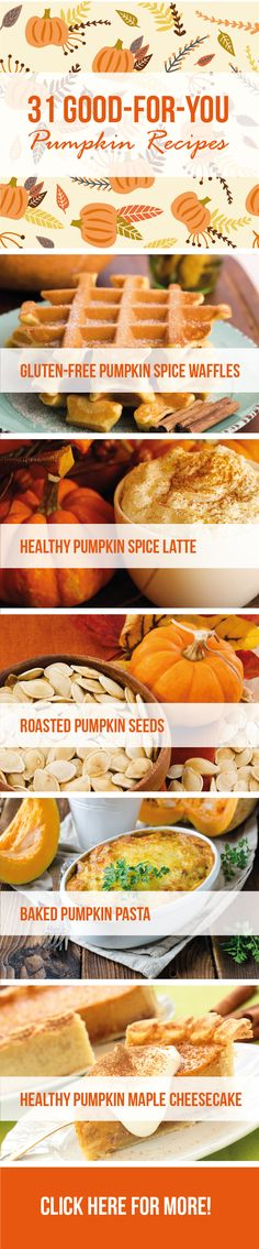 Flavorful and surprisingly nutritious, each of these dishes is a gentle reminder of the season. Enjoy one of the best healthy pumpkin recipes this weekend! Tasty Vegetarian Recipes, Healthy Recipes On A Budget, Quick Healthy Meals, Healthy Recipes For Weight Loss, Easy Healthy Recipes, Paleo, Clean Eating Diet, Clean Eating Recipes, Healthy Waffles