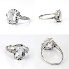 1920s Aquamarine Engagement Ring, $998 | 25 Vintage Engagement Rings You Can Actually Afford