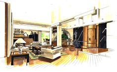Ligeia : Interior Design Interior Sketch, Interior Design, Classic House, Sketchbooks, Manual, Designers, Retail, Furniture, Illustration