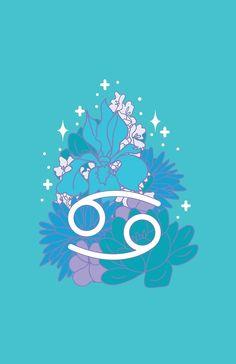 'Cancer Zodiac Flowers - AQUA' by VenusandMoon