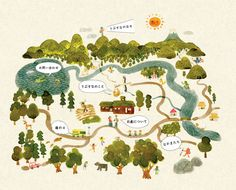 works - Tomoyo Yanagawa Illustration Map Design, Book Design, Book Illustration, Watercolor Illustration, Map Projects, Nature Posters, Print Layout, City Maps, Map Art