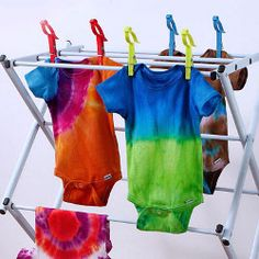 Groovy Onesie-Make this Groovy Onesie for your stylish kid. With a wide array of colors, you'll be able to create tons of different color combos. From ilovetocreate.com, here's a fun and easy craft for the weekend.