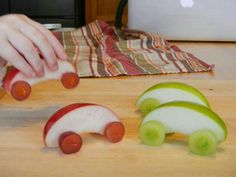 Apple Cars (maybe use peanut butter to stick the grapes to the apples if you don't want to use toothpicks)