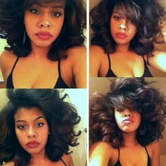 The thickness of her hair is everything. It's a roller set on natural hair. Gorg! S. B.