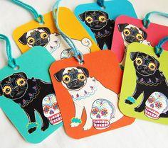 Muertos Pug Gift Tags - Set of 6
