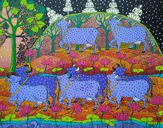 #mythology #krishna #multicoloured #religious #god #art #painting #contemporaryart Krishna, Mythology, Contemporary Art, Cow, Kids Rugs, Type, Painting, Kid Friendly Rugs, Painting Art