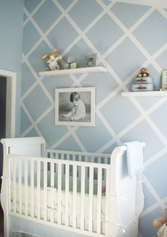 Blue with white stripe design for a baby boy nursery