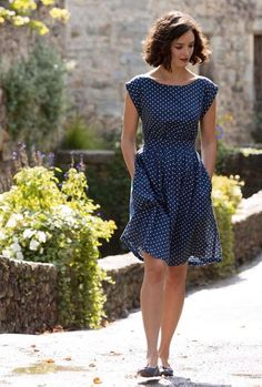 Blue and white polka dot dress from 100 foot journey