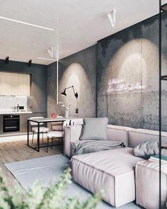 Interior Design For Living Room Key: 7375141907 Loft Interior, Interior Modern, Apartment Interior, Apartment Design, Home Interior Design, Modern Furniture, Cozy Apartment, Apartment Kitchen, Studio Apartment