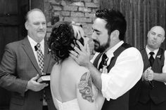 The wedding kiss at the Cotton Mill