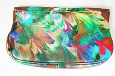 Hand Painted Leather Vintage Clutch Purse
