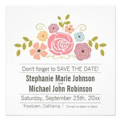 Vintager Blumenstrauß Save the Date Individuelle Ankündigungskarte