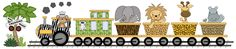 """JUNGLE ANIMALS TRAIN kids room baby boy nursery wall mural stickers decals decor measures 16"""" Tall and 80"""" Wide."""