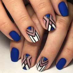 Geometric nail art designs look beautiful and chic on short and long nails. Geometric patterns in any fashion field are the style that fashionistas dream of. This pattern has been popular in nail art for a long time, because it is easy to create in n Nail Art Diy, Cool Nail Art, Nail Art Blue, Gel Nails, Nail Polish, Nail Nail, Toenails, Acrylic Nails, Nagellack Design