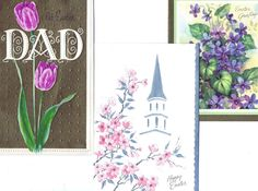 Vintage EASTER Greeting Cards Lot of 3 UNused SPRING FLOWERS Tulips, Violets, A Church Steeple through Pretty Blossoming Tree Branches